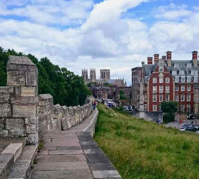 the view down to York Minster from York city walls