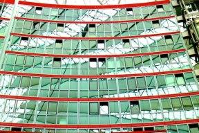 Berlin architecture walk Sony Center reflections