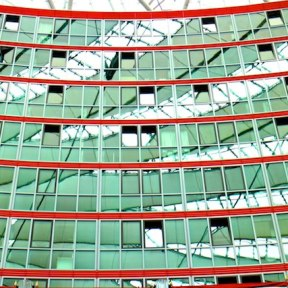 Berlin architecture walk Sony Center reflections