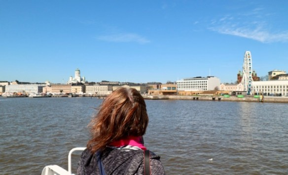 Looking back to Helsinki from the Suomenlinna ferry on our Helsinki city break