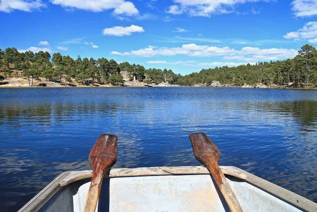 a rowing boat on Lake Arareko near Creel, Mexico