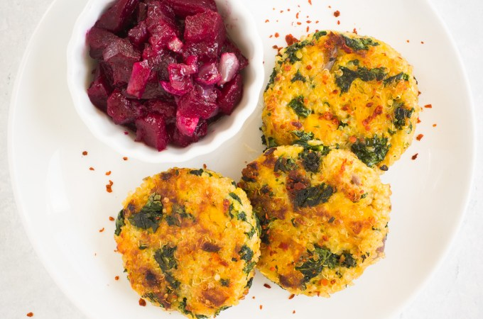 Quinoa, Kale and Butternut Squash Patties with Beet Relish
