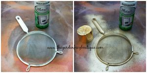 Christmas Swag Idea, Rustoleum Metallic spray paint, Dollar Store kitchen strainer