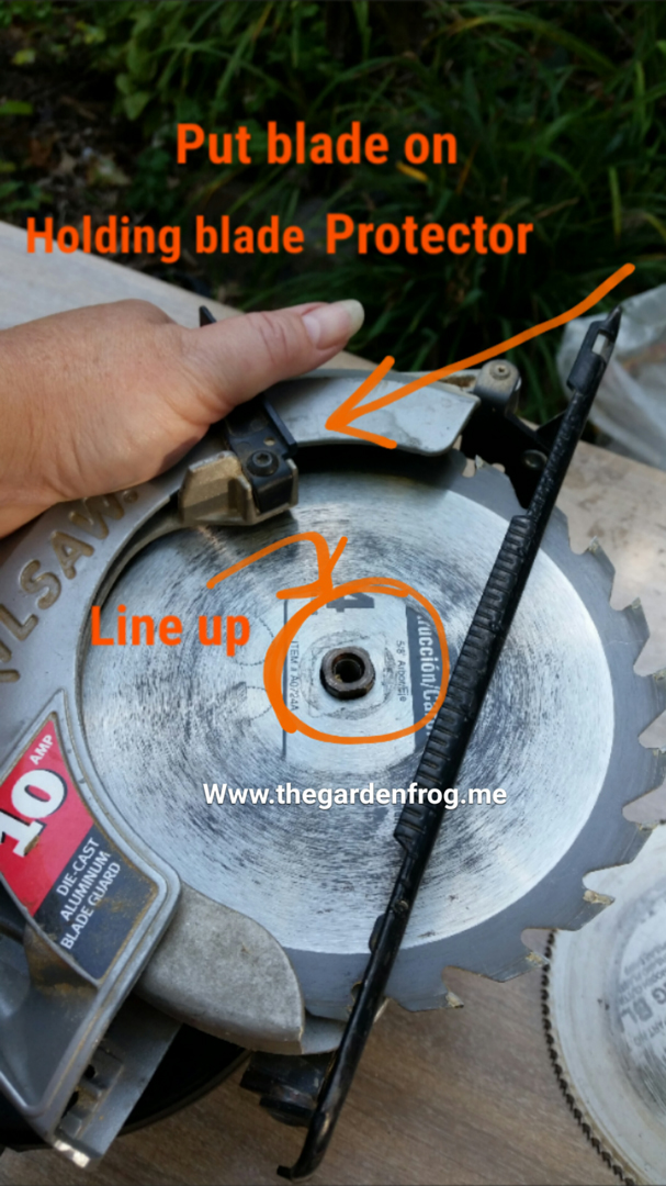 How to change a circular saw blade the garden frog boutique carefully grab new blade and place it on the saw in the same fashion as you took off the old blade greentooth Choice Image