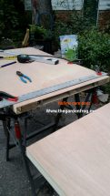 Notice the insides of the hollow core door. this is important when attaching the desk to each other