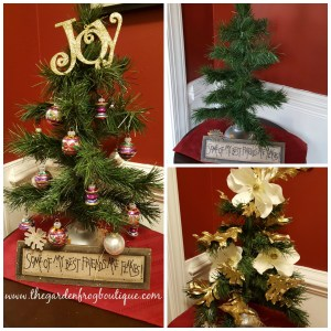 Create an Artificial Christmas Tree Tabletop from a dollar store plunger and wire garland