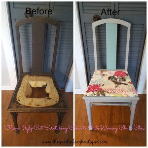 Sometimes You Just have to paint that dining room chair, chalk paint and use fabric to cover seat