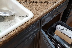 3 Kitchen Organizing Tips for Garbage, Recycling, and Cleaning supplies, recycling pullout in cabinet
