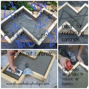 Chevron inspired concrete garden bench