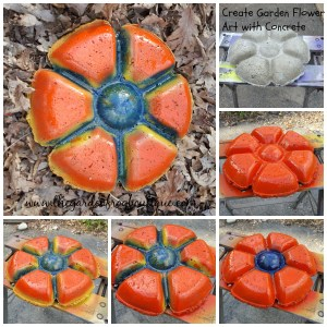 Create a Garden Art Flower with concrete hypertufa and idea for decorative stepping stone