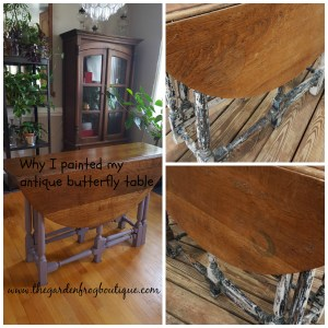 Why I painted my antique butterfly table before and after pictures