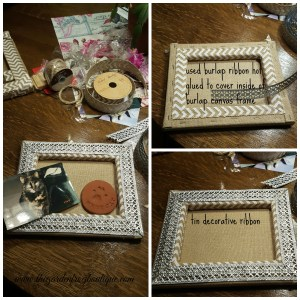 Create a pet memorial shadowbox from stretched burlap frame