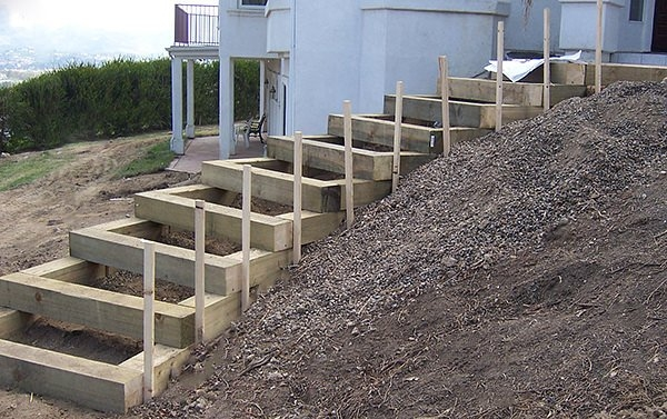 Step By Step Diy Garden Steps Outdoor Stairs • The Garden Glove | Wood On Concrete Steps | Front Entry | Wood Deck | Clad | Timber Concrete | Above Ground Pool