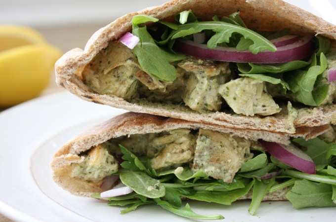 Pesto Chicken Salad Pita Pockets