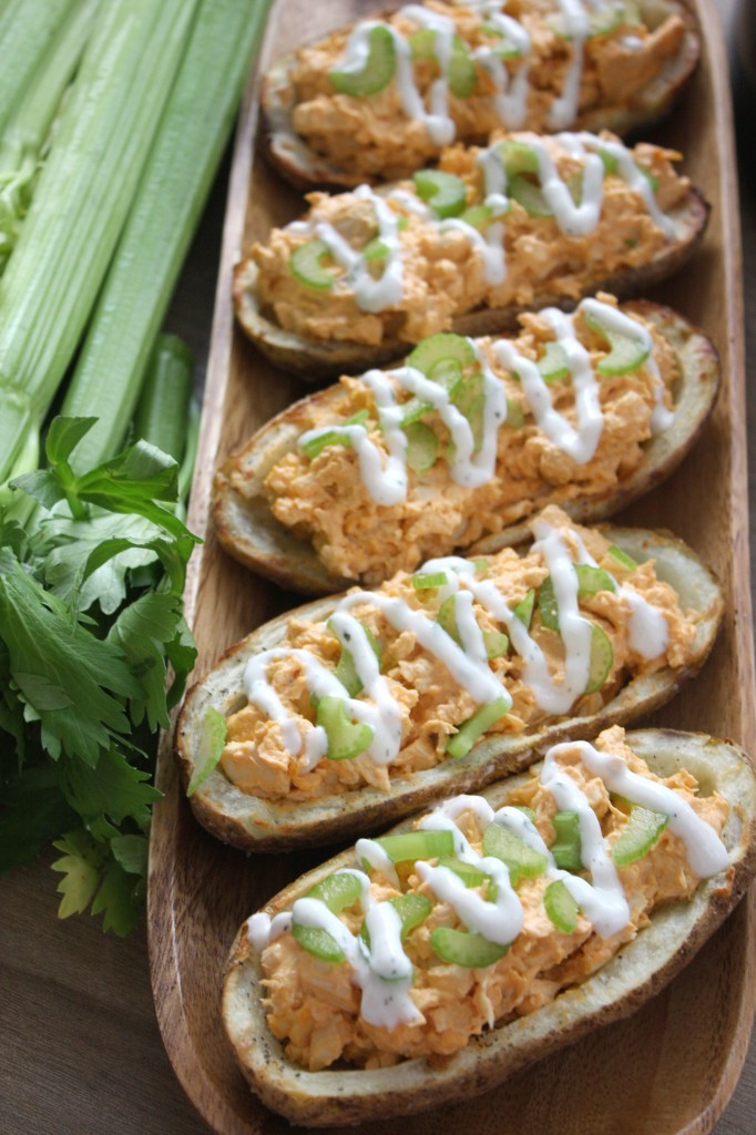 Buffalo Chicken Potato Skins with Greek Yogurt Ranch -- The Garlic Diaries