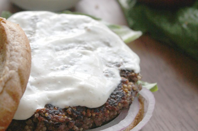 Black Bean and Quinoa Burgers with Roasted Jalapeno Ranch