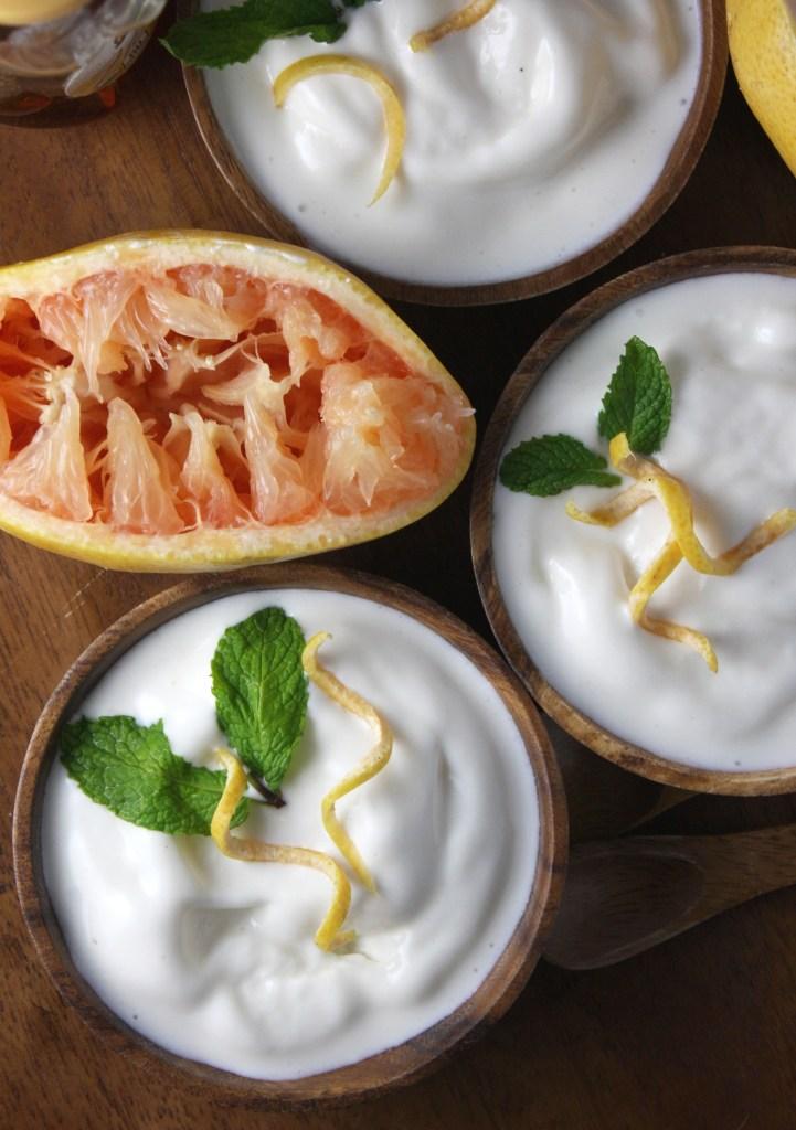 Grapefruit Honey Frozen Yogurt -- TheGarlicDiaries.com