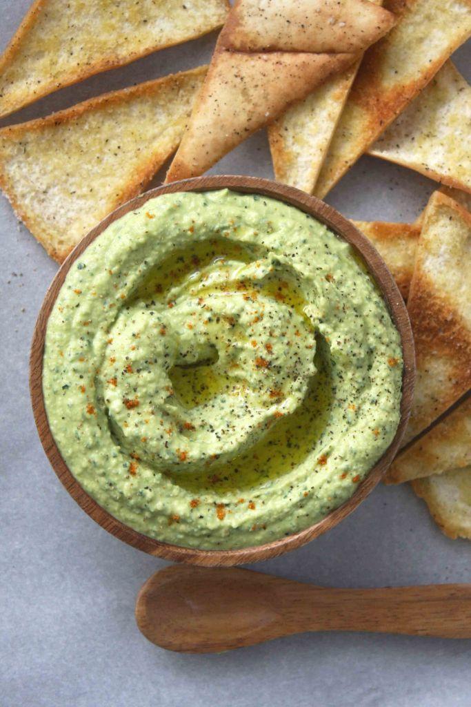 Roasted Garlic Kale Hummus -- TheGarlicDiaries.com