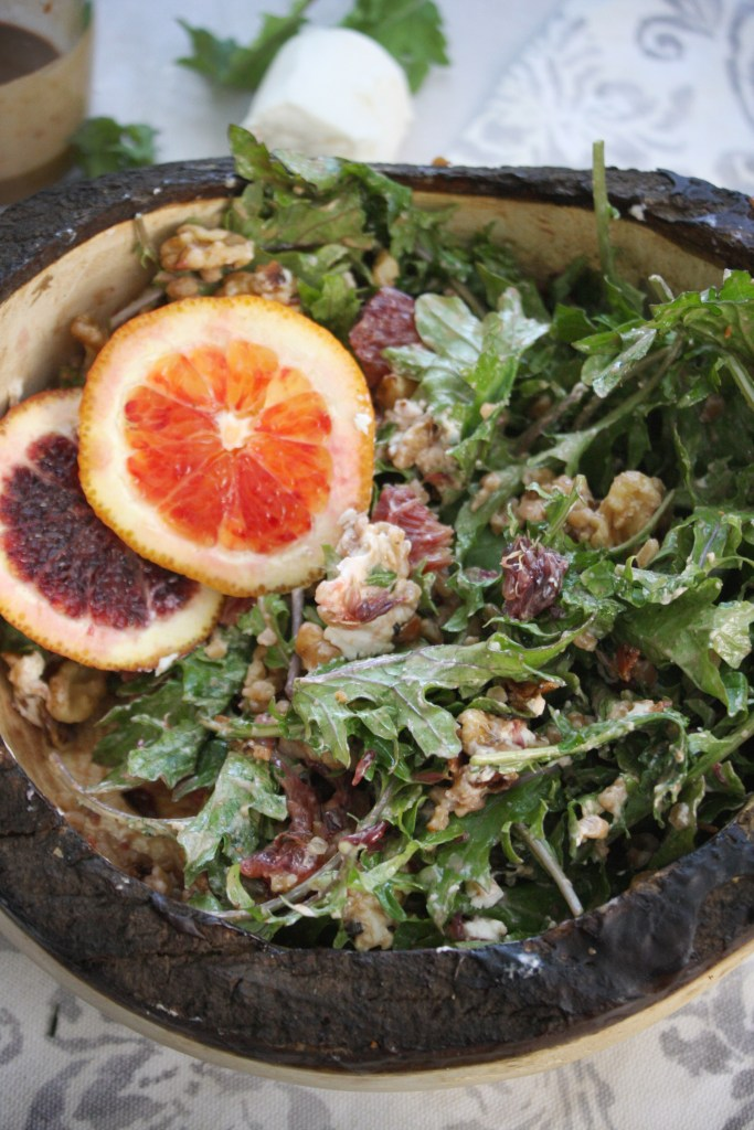 Baby Kale, Farro Salad with Creamy Balsamic Vinaigrette -- TheGarlicDiaries.com