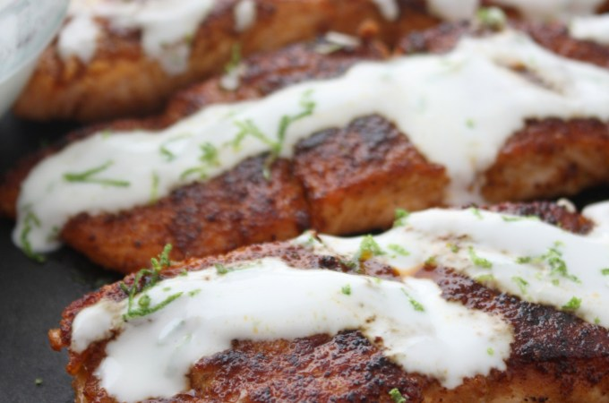 Blackened Salmon with Lime Cream