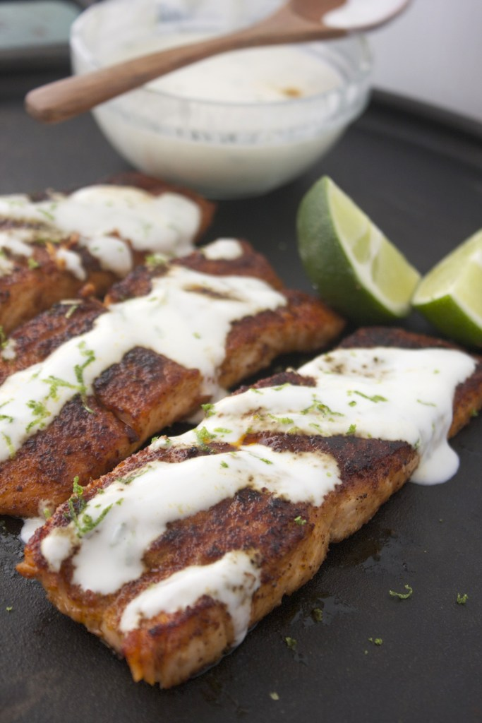 Blackened Salmon with Lime Cream -- TheGarlicDiaries.com