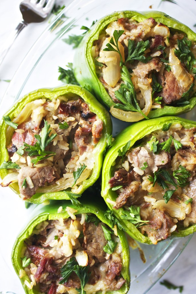 Philly Cheesesteak Stuffed Peppers -- TheGarlicDiaries.com