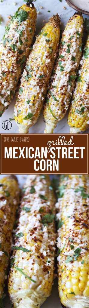 Grilled Mexican Street Corn - quick, easy, and SO yummy! - TheGarlicDiaries.com