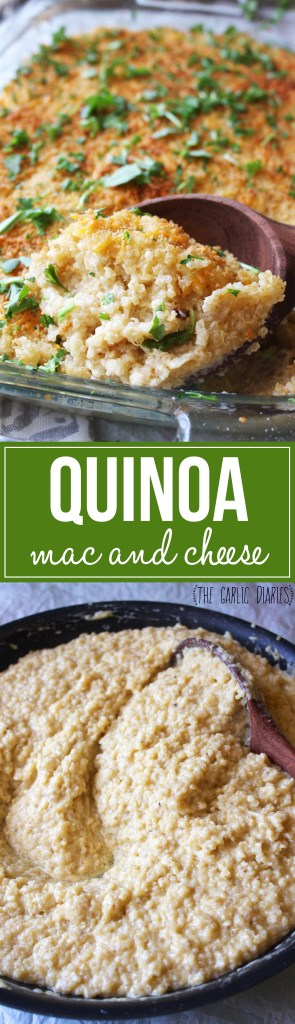 Quinoa Mac and Cheese - A lightened up, protein packed version of the classic Mac and Cheese. It is much healthier but tastes surprisingly like the real thing! TheGarlicDiaries.com