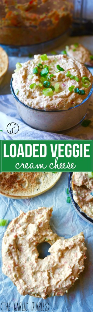 Loaded Veggie Cream Cheese - tons of vegetables pulsed together in the food processor and folded into yummy reduced fat cream cheese...it makes the perfect spread or dip!! TheGarlicDiaries.com