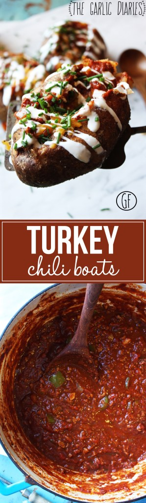 Turkey Chili Boats - Amp up your traditional baked potato with the addition of easy, delicious turkey chili! Gluten Free -- TheGarlicDiaries.com