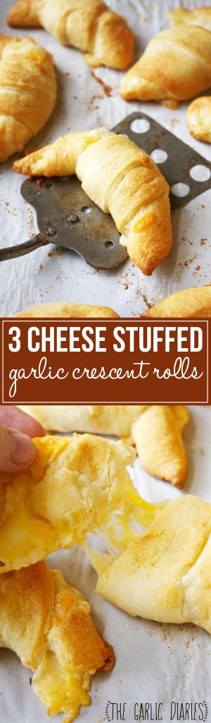 3 Cheese Stuffed Garlic Crescent Rolls - Take a simple crescent roll and kick it up a notch! These babies are just too good for words -- TheGarlicDiaries.com