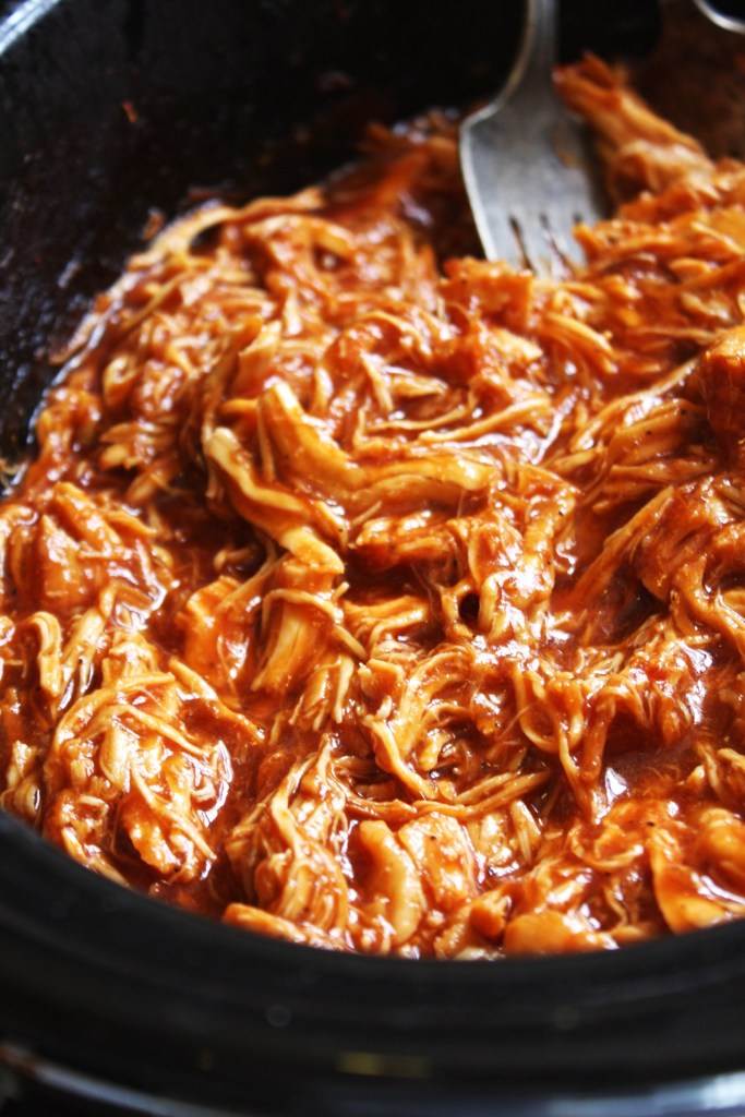 Easy Crock-Pot BBQ Chicken - Seriously one of the easiest and most delicious recipes I have ever made! You will be blown away by the flavor in this chicken that comes from just a few simple steps. Gluten free! TheGarlicDiaries.com