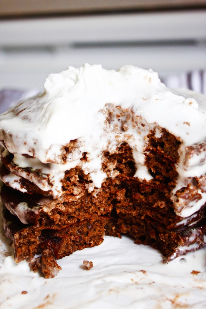 Healthy Chocolate Pancakes with Coconut Whipped Cream [21 Day Fix] - You'll never guess that these delicious pancakes are actually good for you! And that coconut whipped cream is an even better topping than the traditional syrup. #21dayfix TheGarlicDiaries