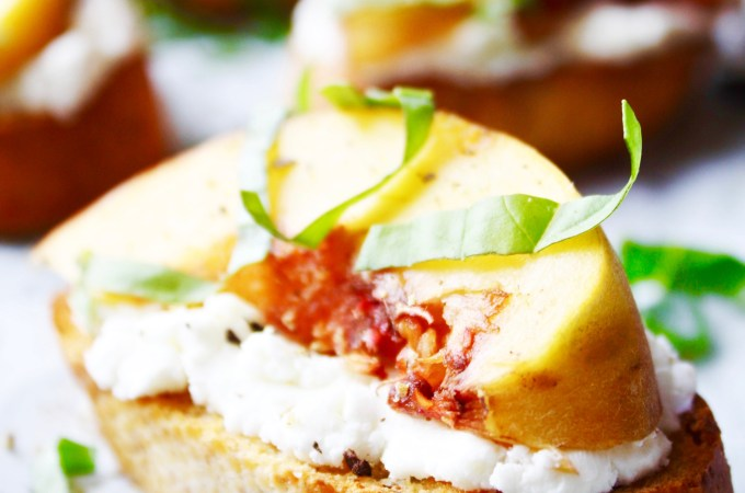 Peach, Goat Cheese, and Basil Toasts
