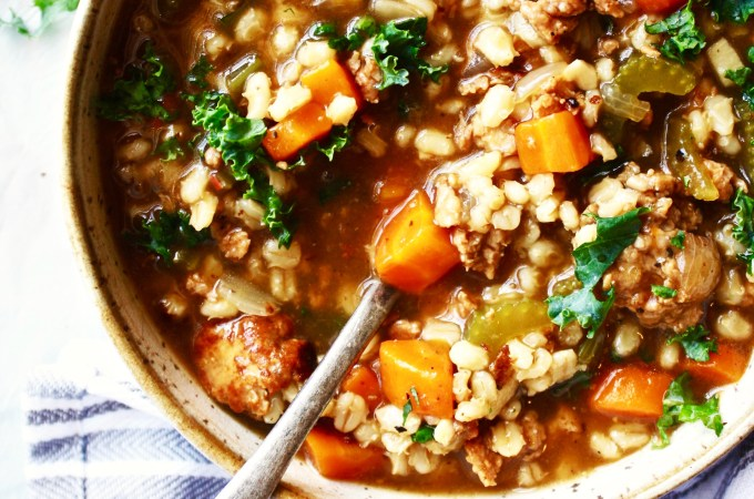 Sausage, Vegetable, and Barley Stew