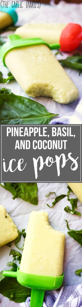 Pineapple, Basil, and Coconut Ice Pops [21 Day Fix friendly] - These ice pops are the perfect healthy treat to cool you down on those hot days. You'll be craving them all summer! #glutenfree #vegan #21dayfix TheGarlicDiaries.com