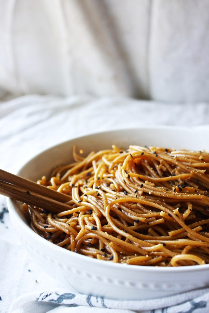 Simple Sesame Noodles - Great all on their own OR as a base for meat and veggies, these flavorful noodles are simple and quick! TheGarlicDiaries.com