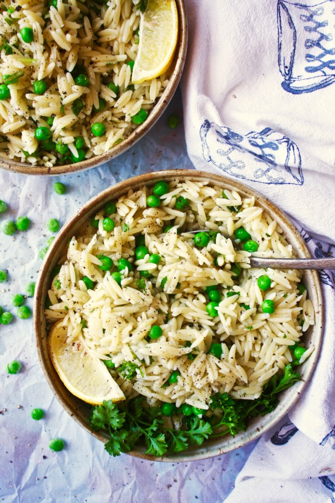 Herbed Pea and Orzo Salad - The perfect light, simple, and refreshing dish for spring and summer! The flavor combinations here are just on point. Love! TheGarlicDiaries.com