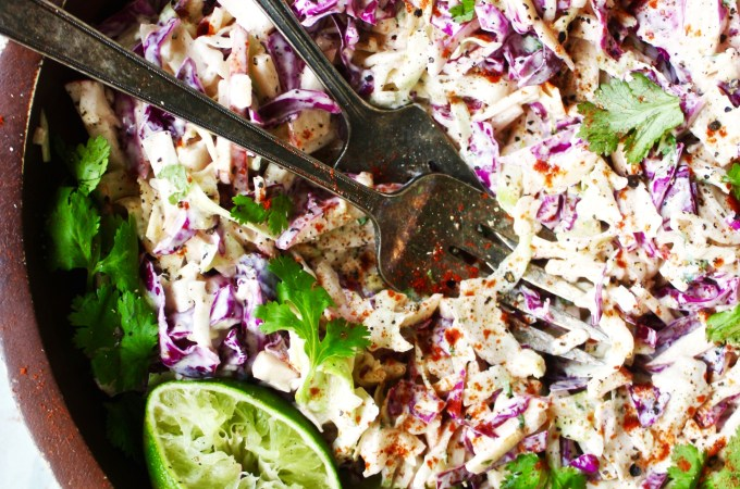 Creamy Apple Lime Cole Slaw