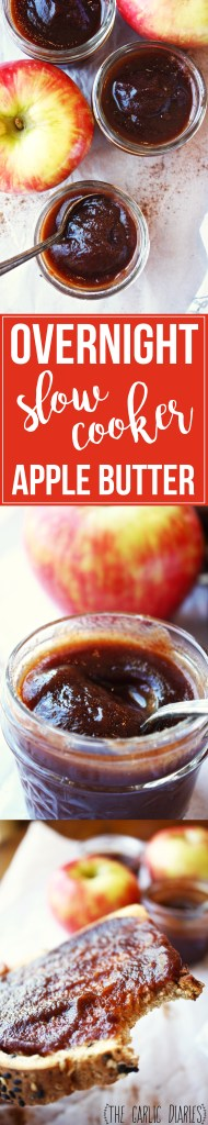Overnight Slow Cooker Apple Butter - Literally the easiest thing in the world, and SO perfectly fally and delicious. Oh my goodness, so much love for this. I could eat it straight with a spoon! TheGarlicDiaries.com