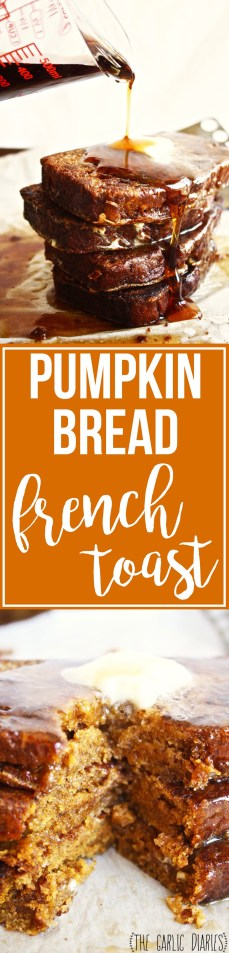 Pumpkin Bread French Toast - A perfect addition to your breakfast or brunch spread, this french toast is made with PUMPKIN bread instead of regular white bread! The result? The most delicious, fall-y, rich, dense french toast you'll ever eat! TheGarlicDiaries.com