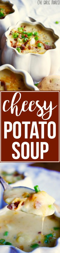 Cheesy Potato Soup - This simple recipe is a winner in any house! It doesn't get much better than a warm, comforting bowl of baked potato soup (especially with all that cheese)! TheGarlicDiaries