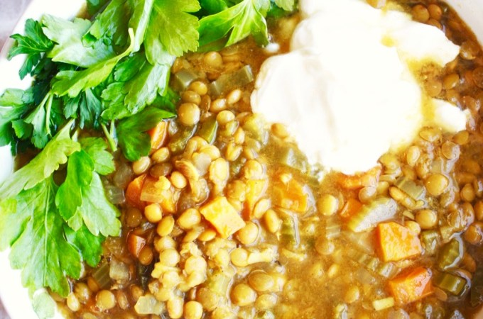Crock Pot Moroccan Lentil Soup [Vegan]