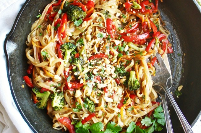 Rainbow Veggie Rice Noodle Stir-Fry