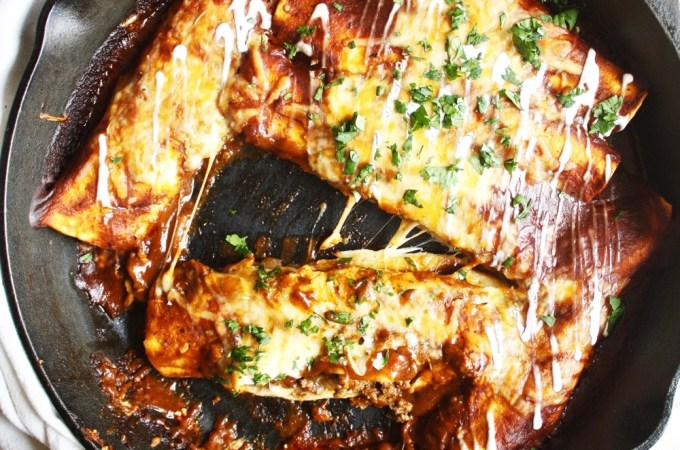 One Skillet Beef and Cheese Enchiladas
