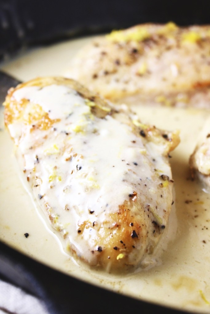 One Pan Lemon Coconut Chicken! This recipe takes literally 3 ingredients and 20 minutes to make! It couldn't get any easier than this, and the flavor is outstanding! I love serving this over rice. TheGarlicDiaries.com