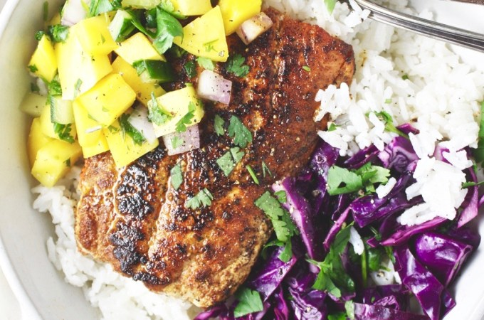 Blackened Salmon Bowls with Mango Salsa - The flavors here are too good for words! It's the perfect spring and summer dinner! TheGarlicDiaries.com