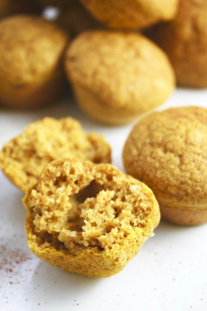 Pumpkin Pancake Bites - These freezable little bites of pumpkin muffin goodness are the perfect quick fall breakfast! Make a big batch and munch on them for weeks! TheGarlicDiaries.com