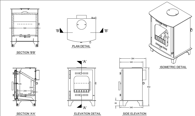 Inset Solid Fuel Stove Boru Fiachra 7 0kw Output