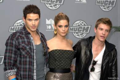 Kellan Lutz, Ashley Greene and Xavier Samuel from the Twilight Saga